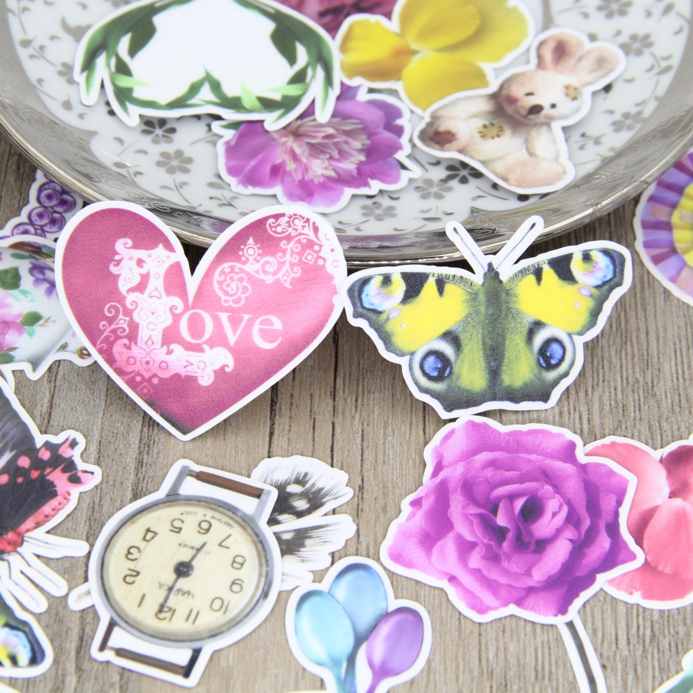 29 pcs multi-element butterfly flowers fun toys fashion luggage tag waterproof notebook sticker decorative paper bag sticker
