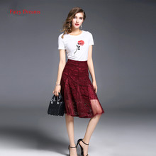 Fairy Dreams Women 2 Piece Set Short Sleeve Rose White T Shirt Tops And Red Lace Skirt Summer Suits 2017 New Style Clothes