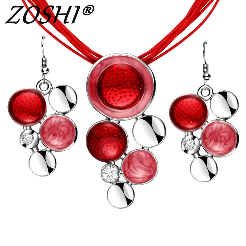 Fashion Brand Jewelry Sets Red Rope Chain Round Beads Pendant Necklace Drop Earring High Quality Free
