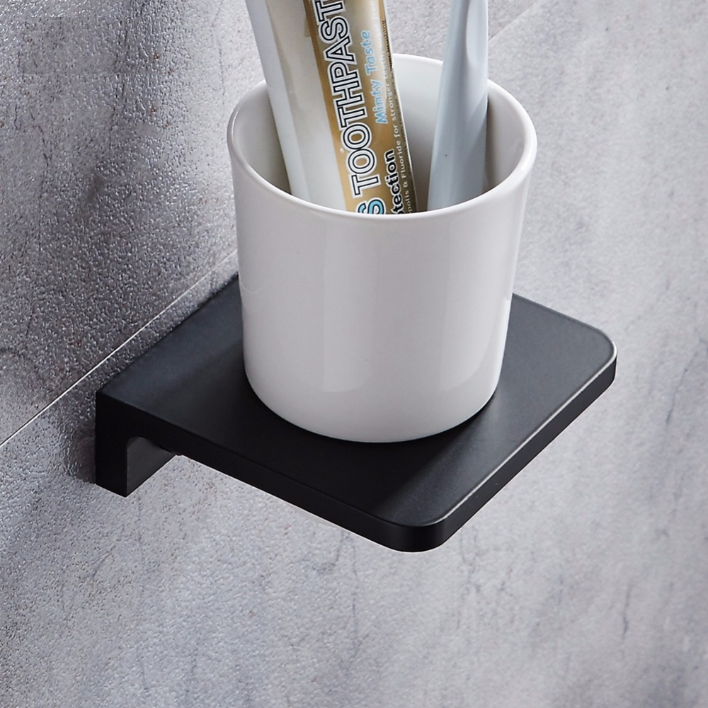 Matt Black Solid Space Aluminum Toothbrush Holder Cup Tumbler White Wall Mounted Toothbrush cup holder Bathroom Accessories image