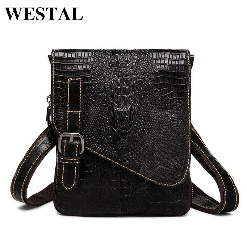 WESTAL Genuine Leather Men Bags Waist Packs Man Crossbody Messenger Bag Cowhide Leather Crocodile Pattern Design Male Bag 8000
