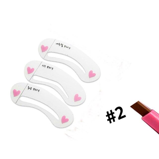 Makeup set Eyebrow Pencil + Eye Brow Stencils Eyes Cosmetics Easy to Wear Eyebrows Enhancer Pen Make up Brows Pigment Stick Tool 3