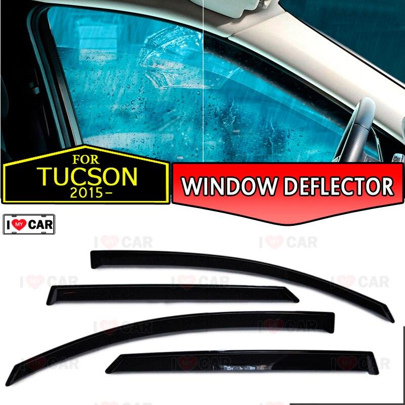 نافذة منحرف لشركة هيونداي توكسون 2015-نافذة السيارة منحرف حماية الرياح تنفيس الشمس المطر قناع غطاء سيارة التصميم ديكور