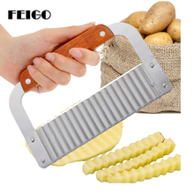 лучшая цена FEIGO 1Pcs Quality Wooden Handle Corrugated Ripple Wave Knife Pastry Handmade Chopper Potato Knife Kitchen Vegetable Tools F556