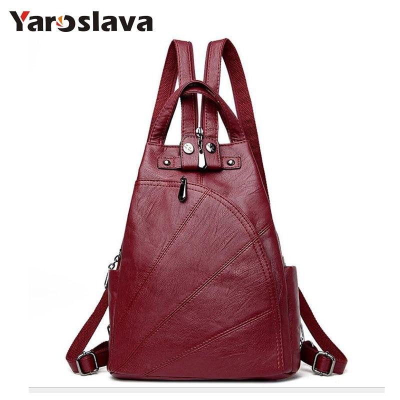 Leisure Women Backpacks Women s PU Leather Backpacks Female school Shoulder  bags for teenage girls Travel Back 5c1c0fbfcb861