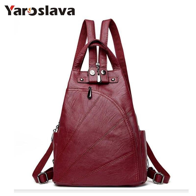 33ce09466 Comprar Mujer ocio mochilas para mujeres de cuero de la PU de mochilas para  mujer de la escuela bolsas de hombro para chicas adolescentes viajar  paquete ...