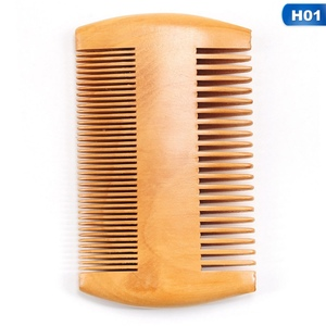 Image 4 - Double Side Pear Wood Beard Comb + PU Leather Bag  Antistatic Beard Care Portable Hair Brush Comb For Men