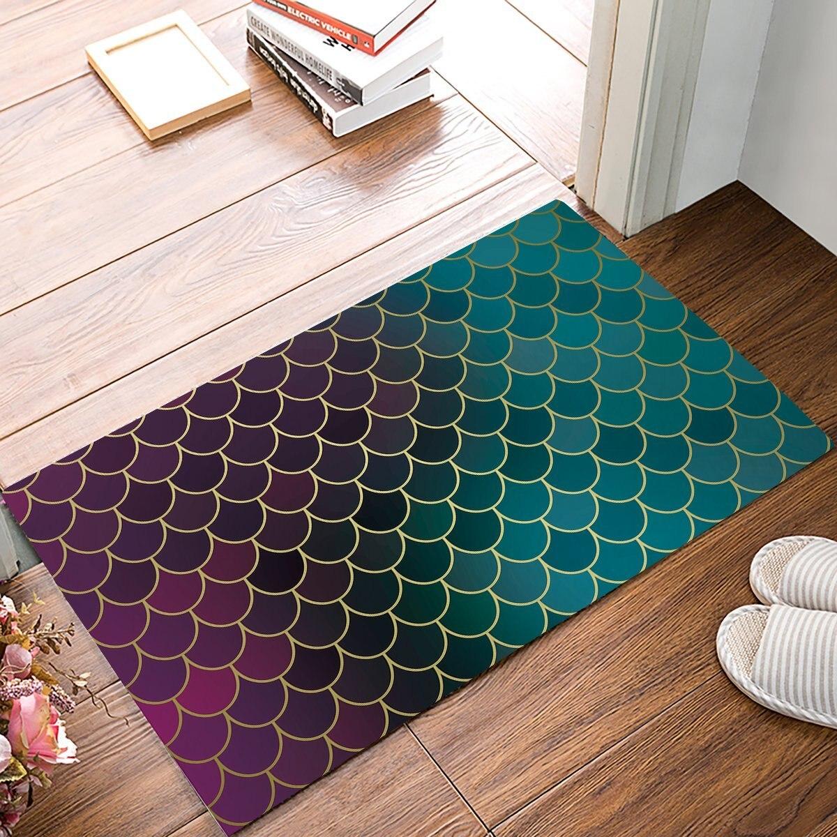 Gradient Fish Scale Door Mats Kitchen Floor Bath Entrance Rug Mat Absorbent Indoor Bathroom Rubber Non Slip
