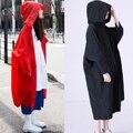 Весна Женщины Длинные Плащ С Капюшоном Свободные Вс Дождь Ткани Друг Ветер Пальто Красный Синий Черный Белый Рис 9327