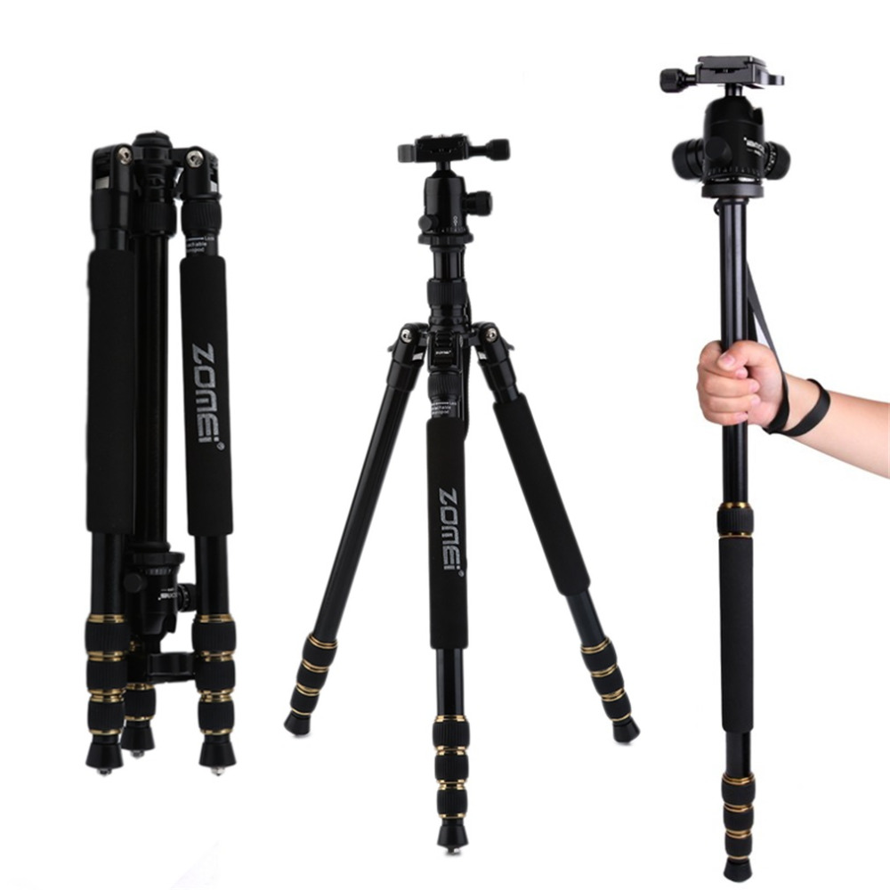 Zomei Q666 Professional Magnesium Alloy Digital Camera Traveling Tripod Monopod For Digital SLR DSLR Camera zomei q666 magnesium alloy portable professional photography tripod ball head monopod for canon dslr slr camera camcorder