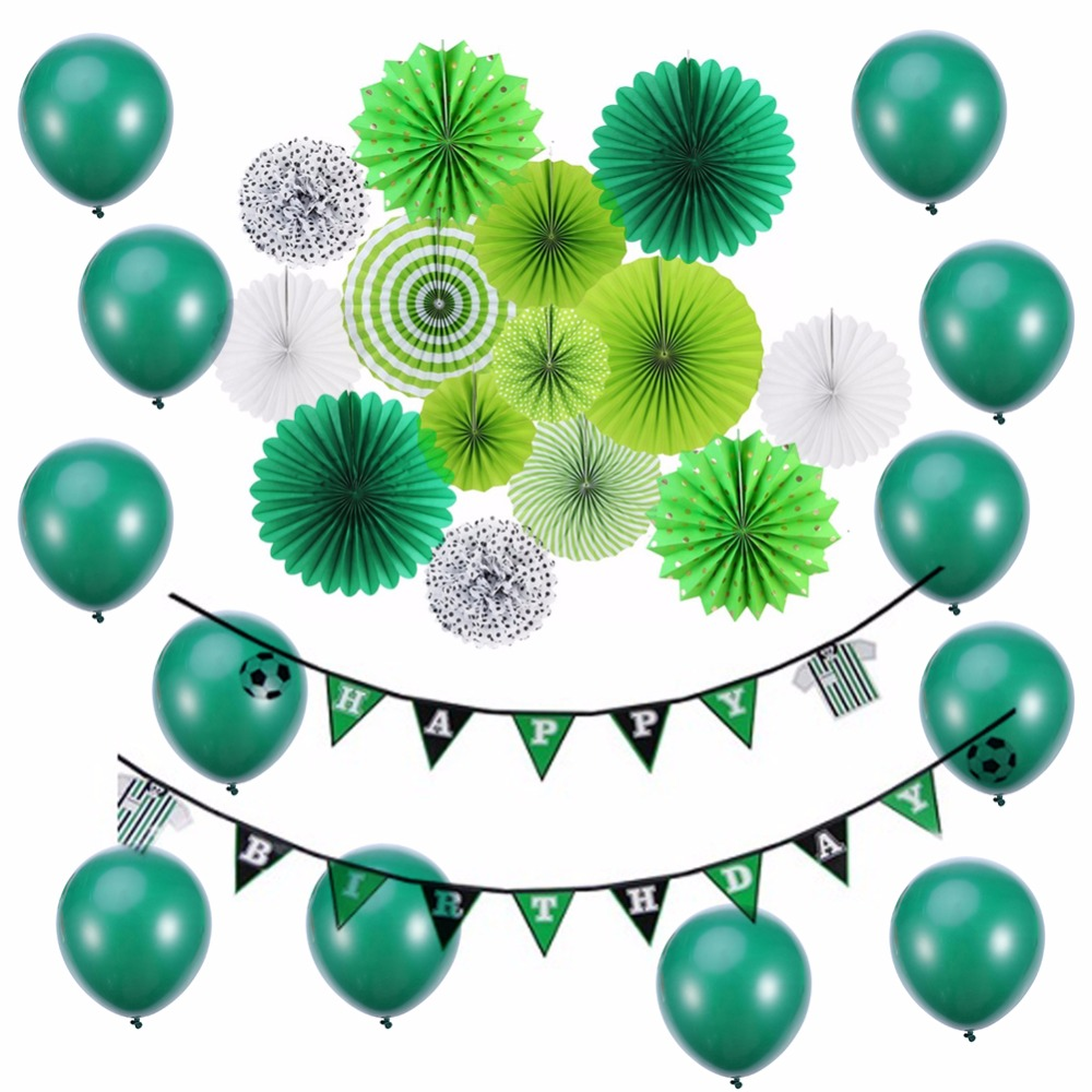 Footballs Party Decorations Green DIY Birthday Ideas For Kids Boy Favor Paper Fans Banner Event Supplies 9 Pieces