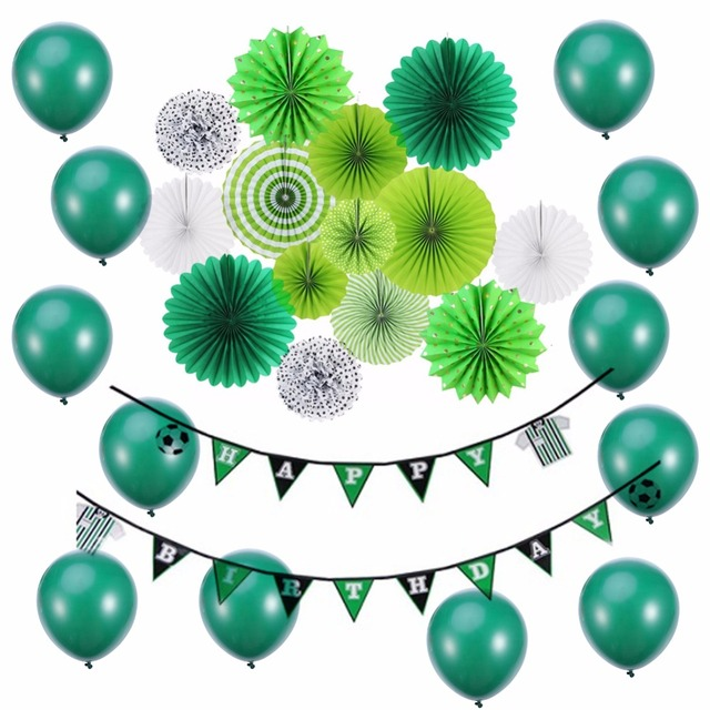 footballs party decorations green diy birthday party ideas for kids boy party favor paper fans banner - Childrens Christmas Party Decoration Ideas