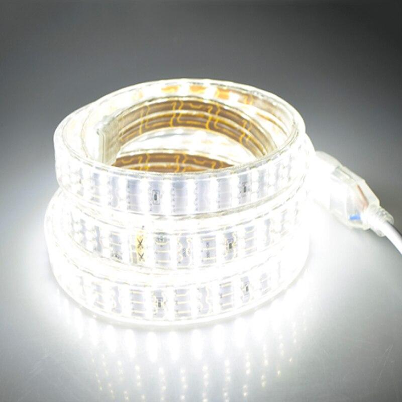 276 LED s/m SMD 2835 LED bande 220V lampe étanche trois rangées LED bande corde lumière Flexible lumière LED décoration extérieure lumières