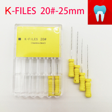 6pcs/pack 20#-25mm Dental K Files Root Canal Endo Dentist Tools Hand Stainless Steel Dentistry Lab