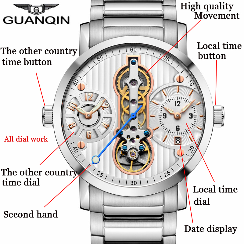 GUANQIN Tourbillon new 2018 Automatic Skeleton Relogio Masculino sport Men Watches Waterproof diver Mechanical Watches 16103 A-in Sports Watches from Watches    2