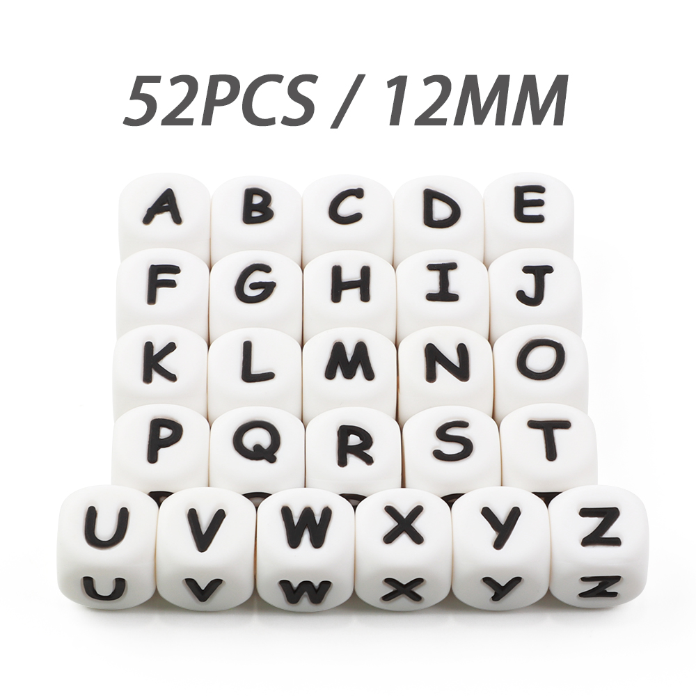 52Pcs/lot Silicone Beas 12mm Letter Alphabet BPA Free Material DIY Baby Teething Name Necklace Food Grade Baby Teether