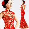 Red Women vintage Cheongsam Sexy  Qipao lace fishtail long dress Party gown Chinese style evening dresses qi pao