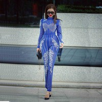 wholesale new Rompers Black and blue Long sleeve Rhinestone Beading Sexy perspective Party girl Jumpsuits (H2201)