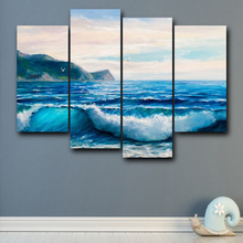 Laeacco Canvas Calligraphy Painting 4 Panel Sea Wave Wall Artwork Posters and Prints Living Room Nordic Home Decoration