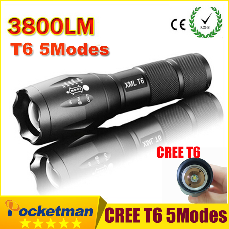 E17 CREE XM-L T6 Flashlight 3800Lumens led Torch Zoomable Powerful LED Flashlight Torch Linternas light For 3AAA or 18650 zk93 zk50 3800lumens zoomable cree flashlights cree xm l t6 led flashlight torch light waterproof lanternas led lanterna free ship