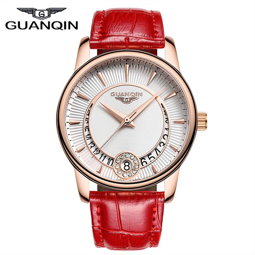 Ladies Fashion Style GUANQIN Watches Women Quartz Watch with Calendar Leather Strap Waterproof Clock For Ladies comtex ladies watch spring casual yellow leather women wristwatch for girl new fashion quartz calendar watches reloj clock gift