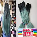 Ombre Two Tone Black&Mint dull Green 5pcs/lot 100g/pc High Heat Kanekalon Synthetic Jumbo Box Braiding Hair Free Shipping