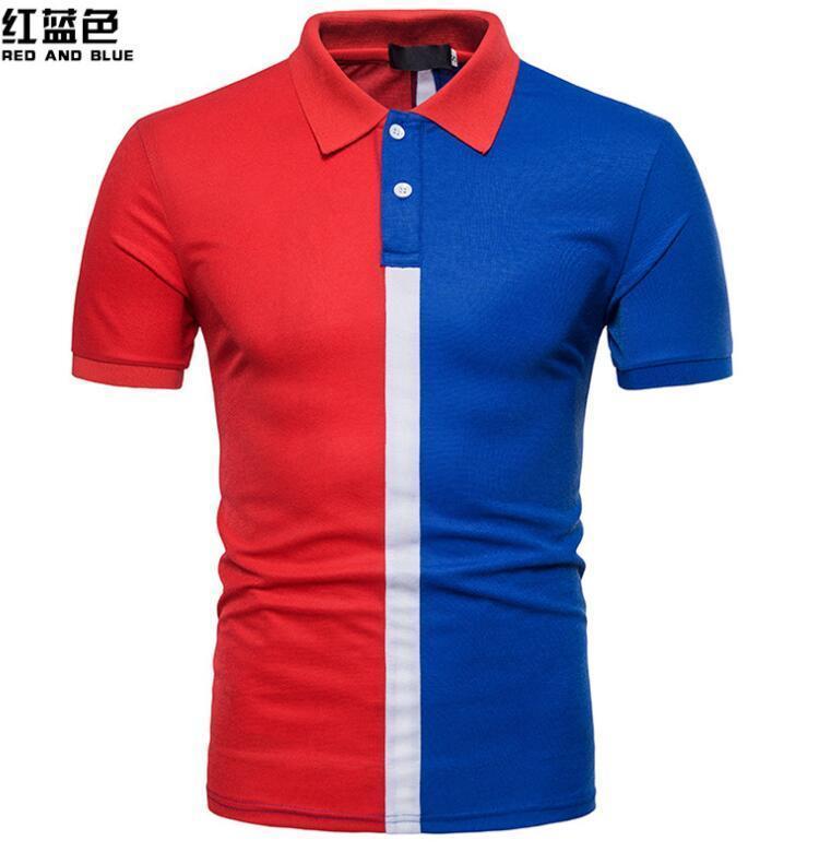 Summer New Fashion Men's Personality Multi-color Mosaic Polo casual Shirt short mens clothing