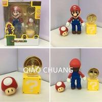 Japanese Game Shigeru Miyamoto Jumpman Super Mario Luigi Turtle Shell Mario Mushrooms Gold 2Pcs PVC Action Figure Doll G211