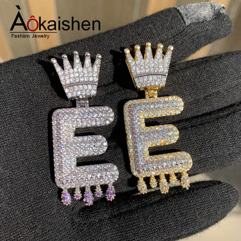 Custom Name Crown Bail Purple Drip Bubble Letters Necklaces & Pendant For Men Women Gold Color Cubic Zircon Hip Hop Jewelry