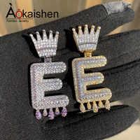 Custom Name Crown Bail Purple Drip Bubble Letters Necklaces & Pendant For Men Women Gold Color Cubic Zircon Hip Hop Jewelry