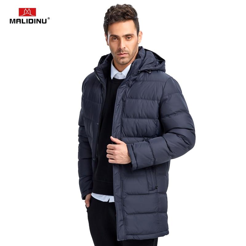 MALIDINU 2019 Men Down Coat Winter Long Down Jacket Down Parka Brand Fashion Winter Coat Mens Long Down Coat Windproof Warm Coat