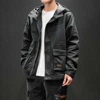 Harajuku chaqueta con capucha sólida para hombres kpop hip hop ceket hombre negro prendas de vestir exteriores streetwear chaquetas de moda casacas para hombre