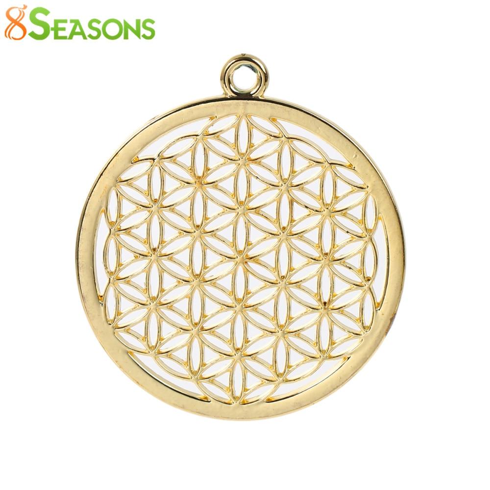 8 saisons bohème fleur de vie pendentifs pendentifs ronds or Rose / - Bijoux fantaisie - Photo 5