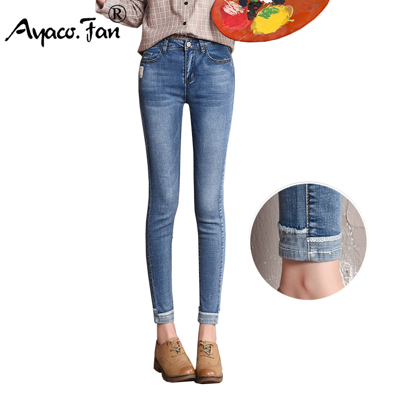 Summer Cuffs Ankle-Length Pants 2018 New Slim Pencil Pants for Students Girls Ladies Vintage   Jeans   Womens Pants Skinny Pants