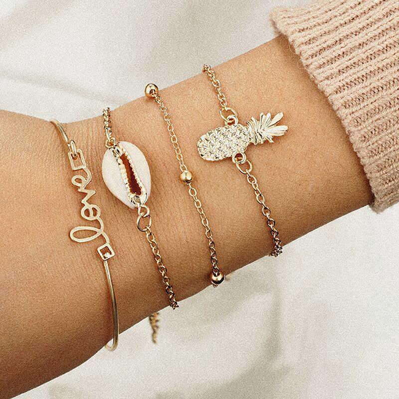 2019 Hot 1 Set Vrouwelijke Multilayers Armbanden Goud Zilver Groen Chain Link Shell Armband Bangles Charm Pols Sieraden Voor Vrouwen