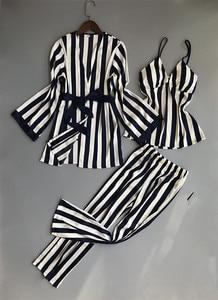 Image 4 - Striped Sexy Women Pajamas Nightgown+Robe+Pant Female 3 Pcs Pajama Set