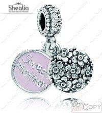 2014 nueva llegada auténtico 925 de la joyería de plata mi familia esmalte rosado de la madre dulce cuelga los encantos cupieron las pulseras del encanto