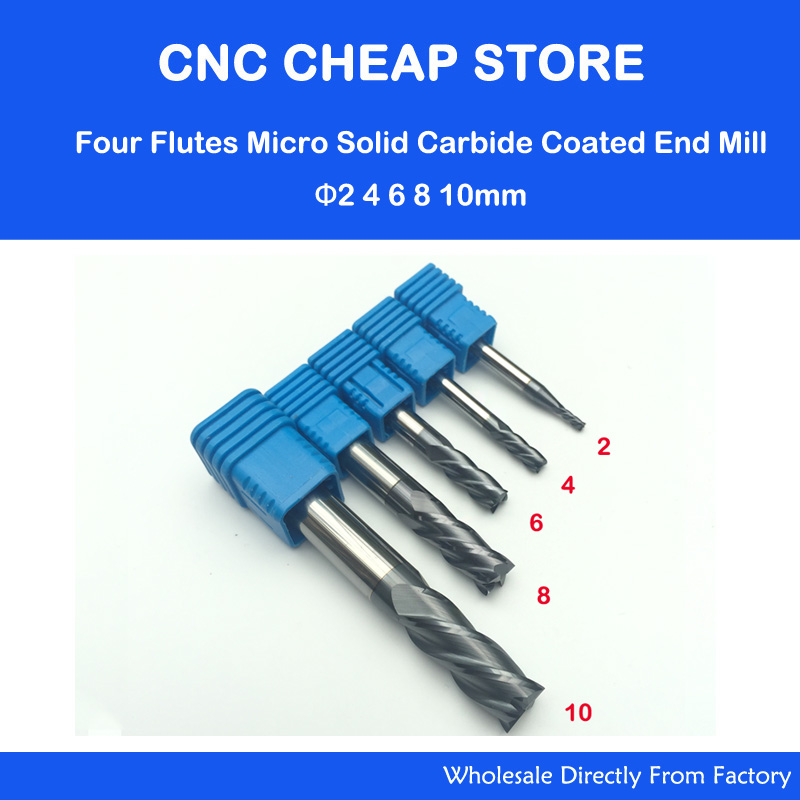 Free Shipping 5pcs 2 4 6 8 10mm HRC55 Four Flutes Solid Carbide End Mill NANO