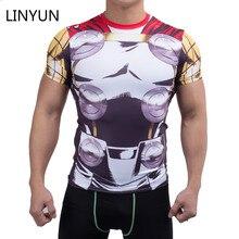 LINYUN 3D Gedruckt T-shirts Männer Fitness Kompression Kurzarm Avengers Halloween Cosplay Kostüm Schnell Trocknend Tops Männlich Kleidung