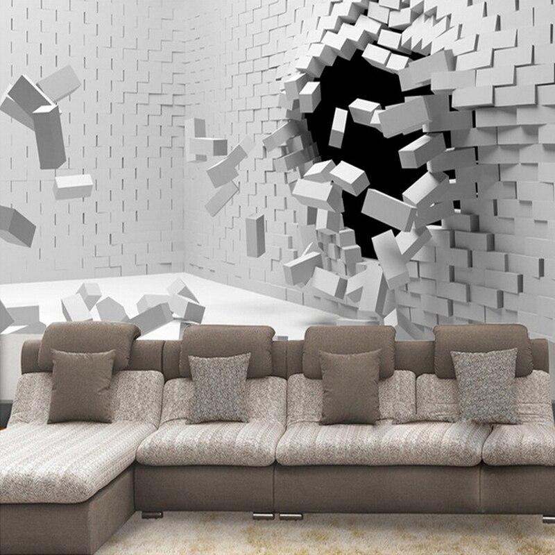 Kustom Ukuran 3d Dinding Mural Wallpaper Untuk Ruang Tamu Modern