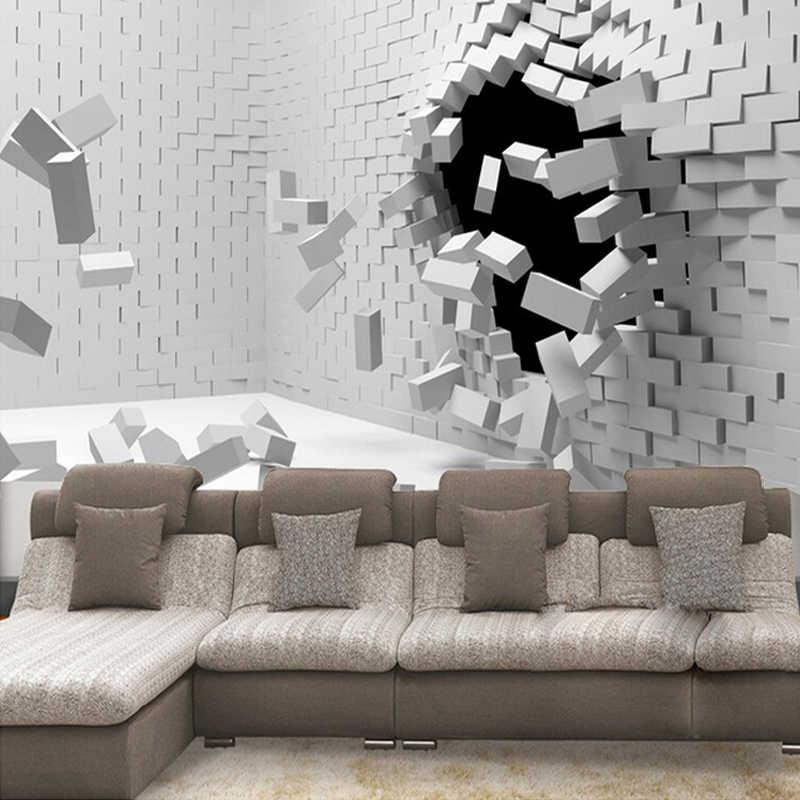 Papel pintado Mural 3D personalizado De cualquier tamaño para sala De estar Papel tapiz De ladrillos creativos abstractos modernos Papel De pared 3D