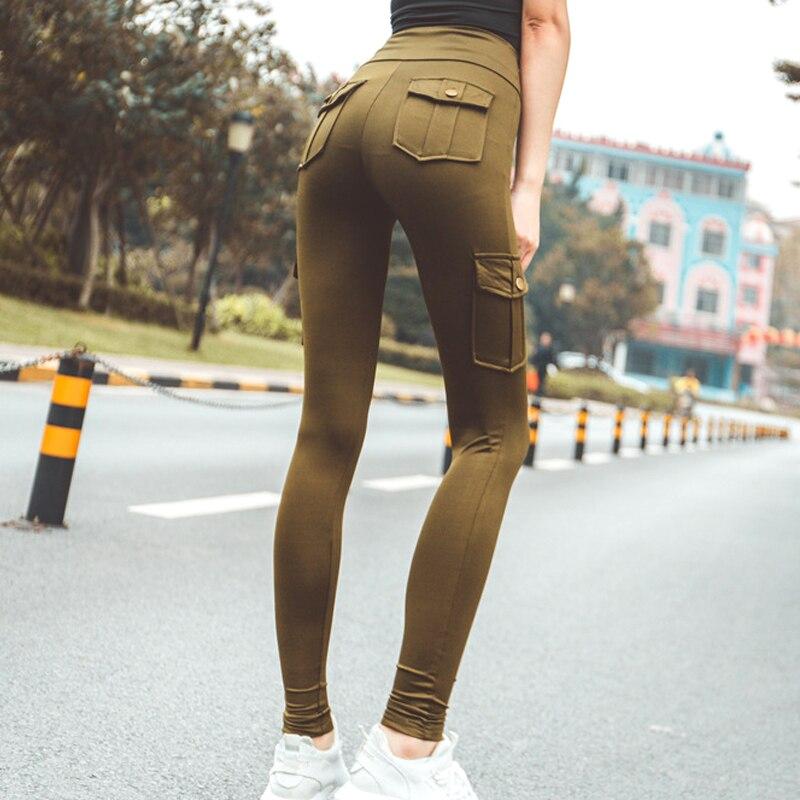 2019 Women Leggings For Fitness Skinny Cargo Pants Push Up High Waist Pocket Leggings Hip Pocket Workout Sports Pants