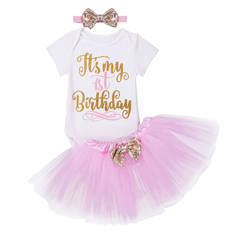 FEESHOW Newborn Baby Girls Its My 1st Birthday Outfit Romper//Shirt Top with Tutu Skirt Set