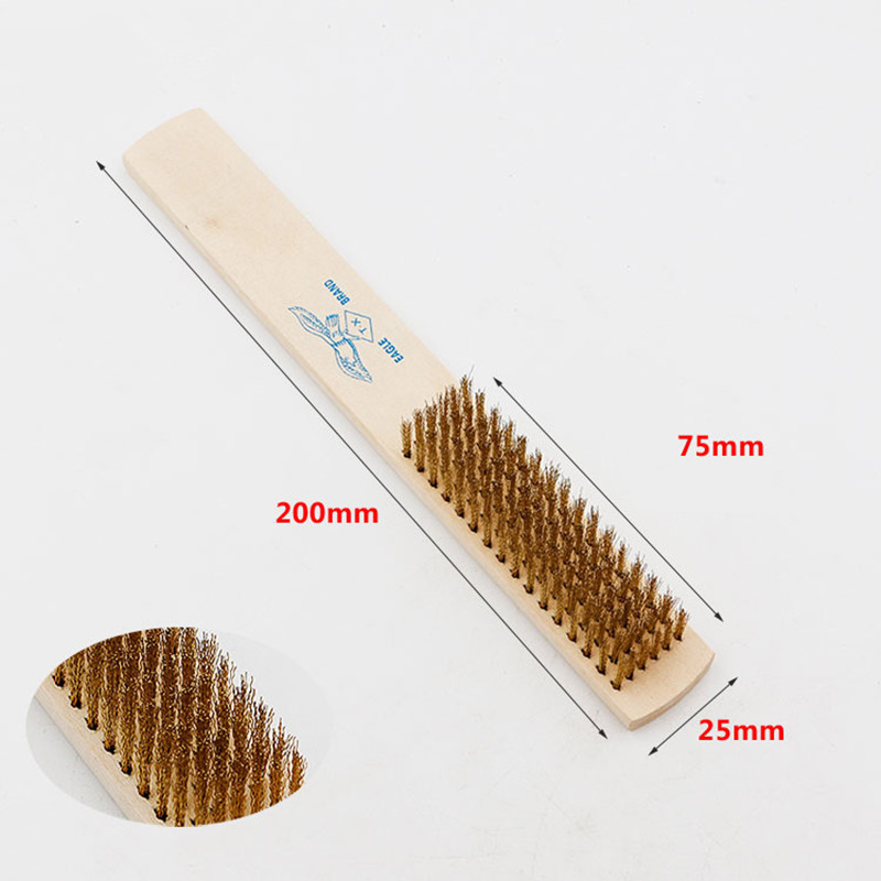 1pcs 6x16 Row Wood Handle Brass Wire Brush Copper Brush For Industrial Devices Surface/Inner Polishing Grinding Cleaning Brush