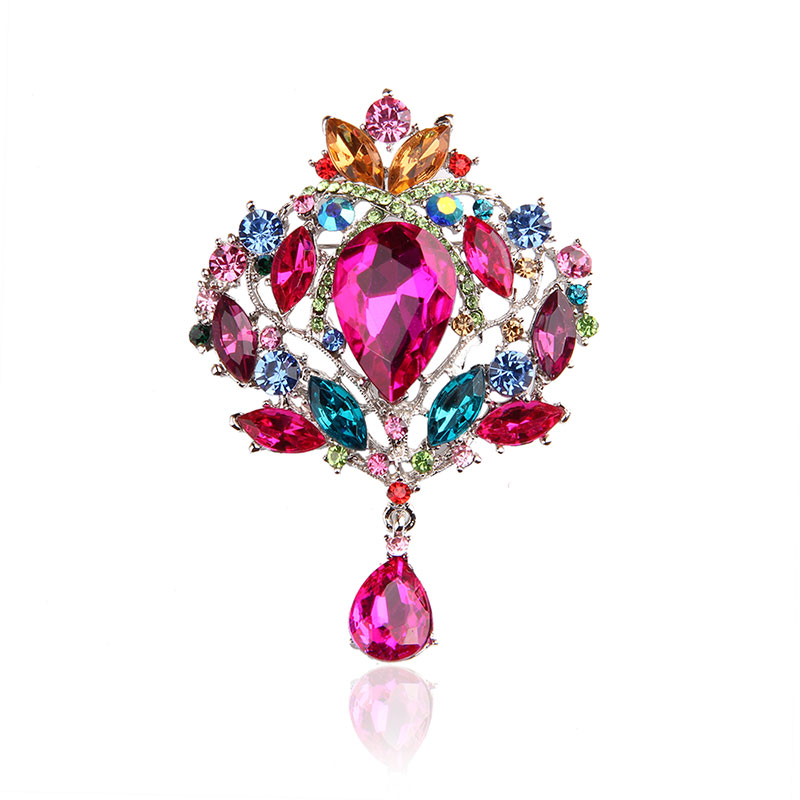 Top Luxury Acrylic Multicolor Brooches Large Water Drop Rhinestone Pendant Brooches Safety Pins For Women Wedding Gift Party