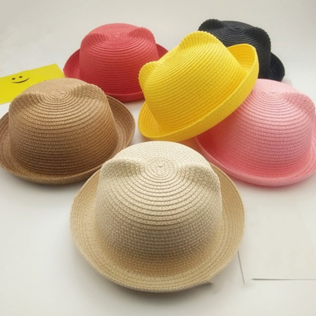 ef6e23b58b3 Fashion Girls Boys Straw Hats Summer Baby Sun Hat Lovely Children Solid  Floppy Cat Ears Decor