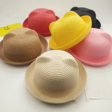 Fashion Girls Boys Straw Hats Summer Baby Sun Hat Lovely Children Solid Floppy Cat Ears Decor Cap  H9