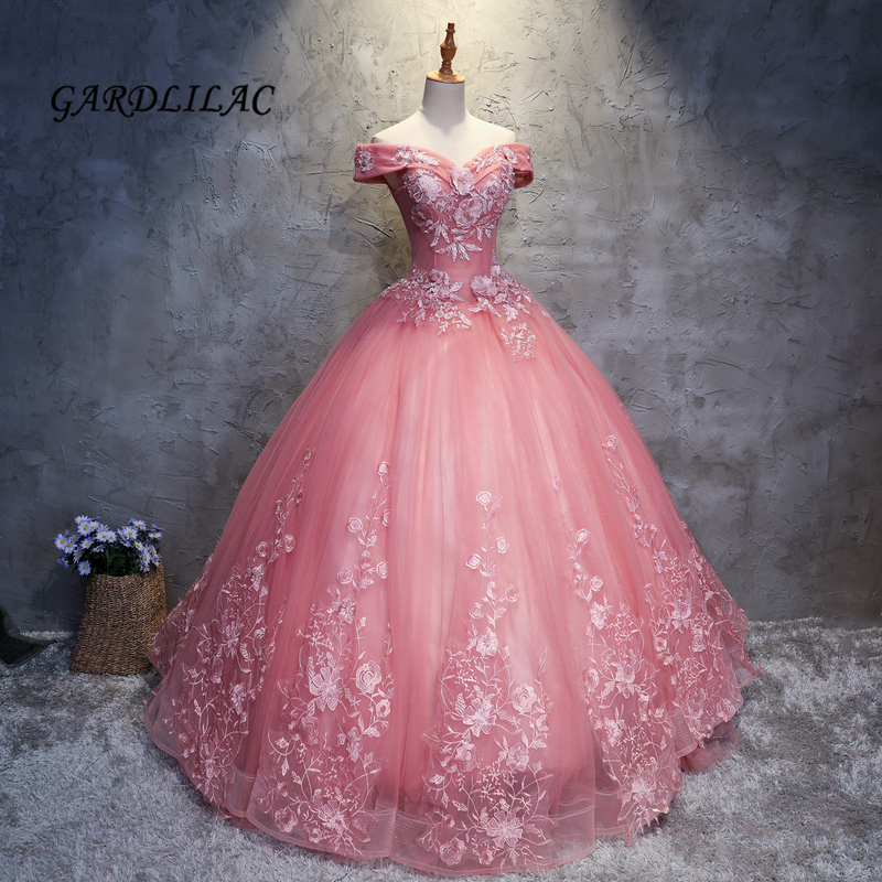2018 Nuovo Cammeo Marrone Abiti stile Quinceanera Tulle Con Appliques Del Merletto Masquerade Ball Gown Sweet 16 Dress Abiti De 15 Anos