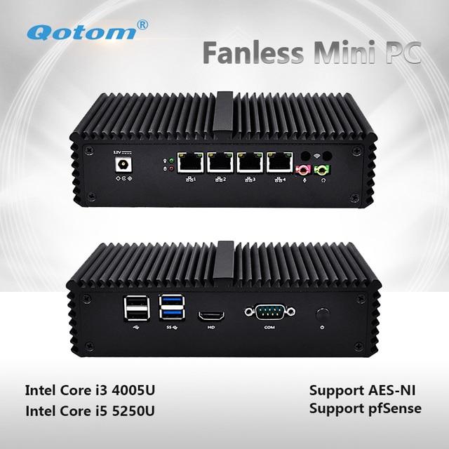 QOTOM-Q355G4 Latest New Core i5-5200U Processor 2.70 GHz, 4 gigabit LAN Pfsense Firewall Mini pc fanless X86 support AES-NI
