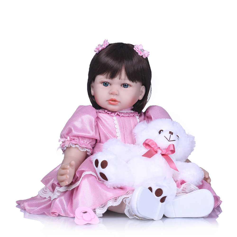 24'' doll reborn babies for sale silicone reborn baby live dolls with plush doll 58cm bebe reborn girls toys birthday gift